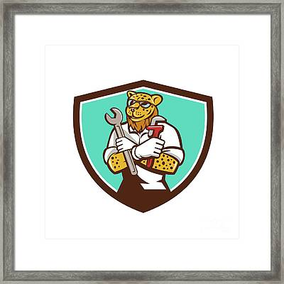 Leopard Mechanic Spanner Monkey Wrench Crest Cartoon Framed Print