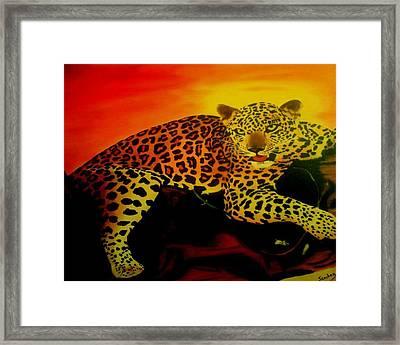 Leopard On A Tree Framed Print by Manuel Sanchez