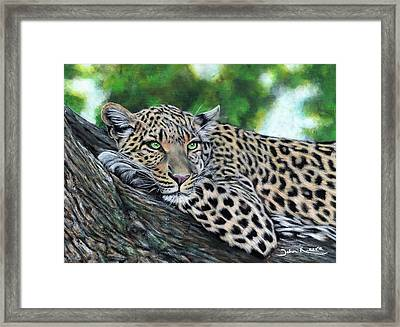Leopard On Branch Framed Print