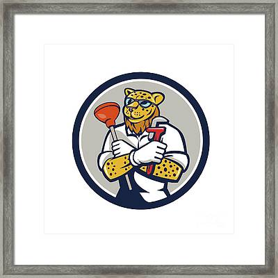Leopard Plumber Wrench Plunger Circle Retro Framed Print