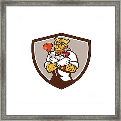 Leopard Plumber Wrench Plunger Crest Retro Framed Print by Aloysius Patrimonio
