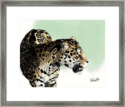 Framed Print featuring the digital art Leopard by Walter Chamberlain