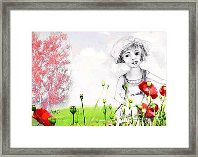 Framed Print featuring the drawing Leora In Her Garden by Ginette Callaway