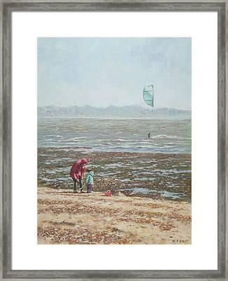Framed Print featuring the painting Lepe Beach Windy Winter Day by Martin Davey