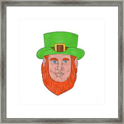 Leprechaun Head Front Drawing Framed Print
