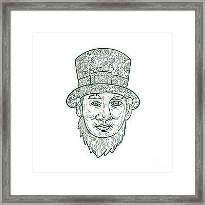 Leprechaun Head Front Mandala Framed Print by Aloysius Patrimonio