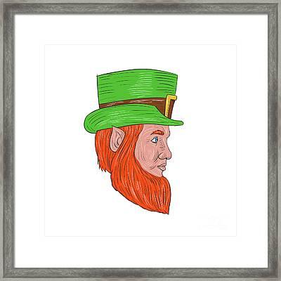 Leprechaun Head Side Drawing Framed Print by Aloysius Patrimonio