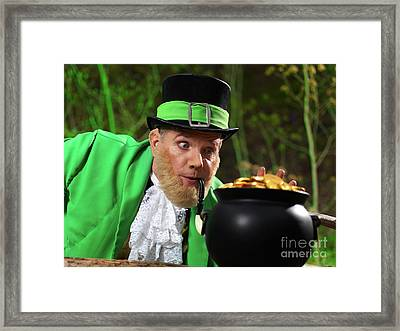 Leprechaun With Pot Of Gold Framed Print