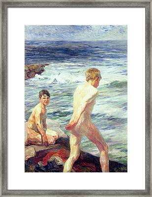 Les Baigneurs Framed Print by Jean Delvin