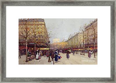 Les Champs Elysees, Paris Framed Print by Eugene Galien-Laloue
