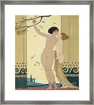 Les Conseils Framed Print by Georges Barbier