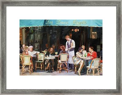 Les Deux Magots - Cafe Scene In Paris Framed Print by Dominique Amendola
