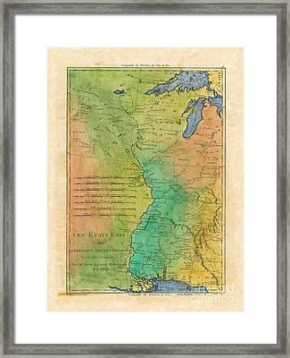 69 Mississippi River Les Etats Unis 1781 16x20 F, Hand-painted Historic Map, Vintage Map, Historic Framed Print