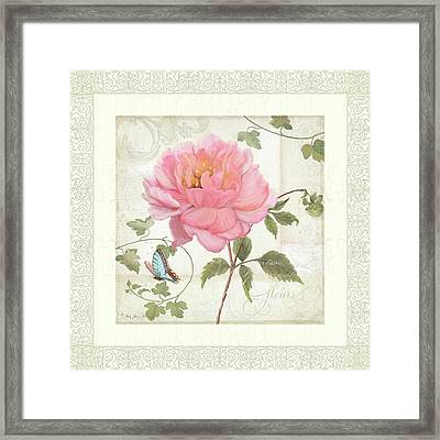 Les Fleurs Magnifiques II - Pink Peony W Vines N Butterfly  Framed Print