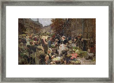 Les Halles Framed Print by Leon Augustin Lhermitte