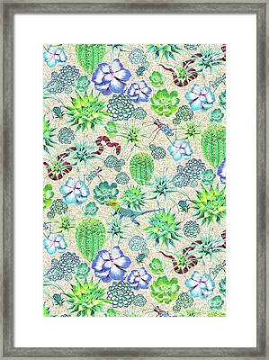 Les Jardins Majorelle  Succulents Framed Print by Jacqueline Colley
