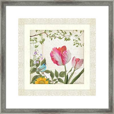 Les Magnifiques Fleurs I - Magnificent Garden Flowers Parrot Tulips N Indigo Bunting Songbird Framed Print