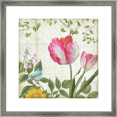 Les Magnifiques Fleurs IIi - Magnificent Garden Flowers Parrot Tulips N Indigo Bunting Songbird Framed Print
