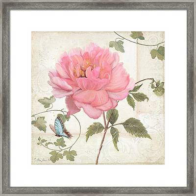 Les Magnifiques Fleurs Iv - Magnificent Garden Flowers Pink Peony N Blue Butterfly Framed Print by Audrey Jeanne Roberts