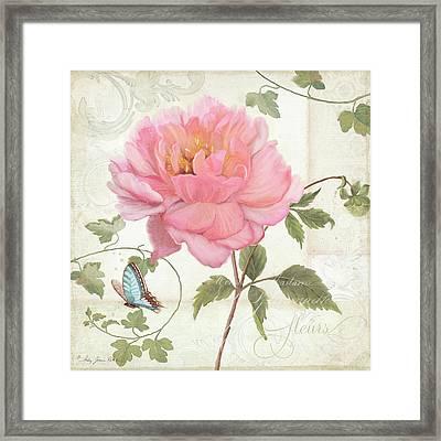 Les Magnifiques Fleurs Iv - Magnificent Garden Flowers Pink Peony N Blue Butterfly Framed Print