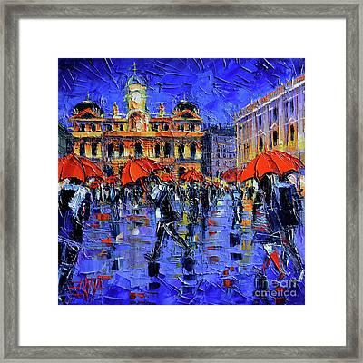Les Parapluies De Lyon Modern Impressionist Palette Knife Oil Painting Framed Print