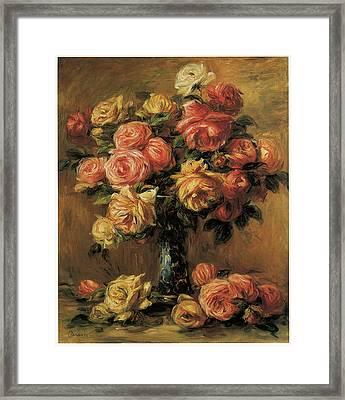 Les Roses Dans Un Vase Framed Print by Pierre-Auguste Renoir