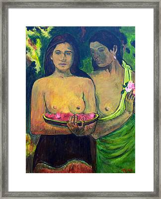 Framed Print featuring the painting Les Seins Aux Fleurs Rouges by Tom Roderick