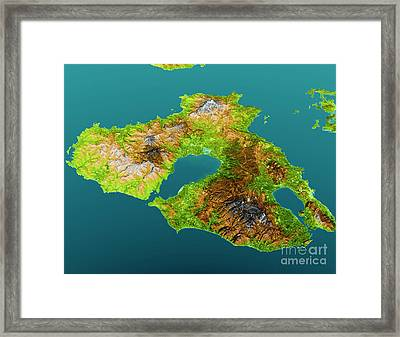 Lesbos Island Topographic Map 3d View Color Framed Print