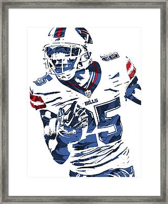 Lesean Mccoy Buffalo Bills Pixel Art Framed Print by Joe Hamilton