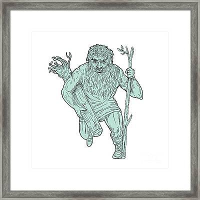 Leshy Tree Runk Staff Drawing Framed Print by Aloysius Patrimonio