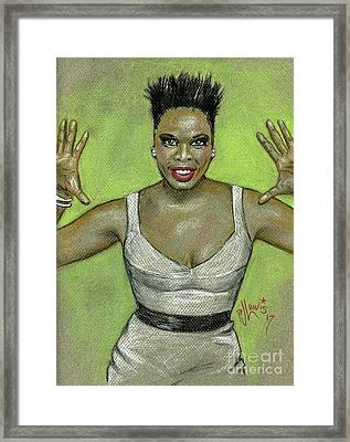 Framed Print featuring the drawing Leslie Jones by P J Lewis