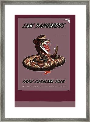 Less Dangerous Than Careless Talk Propaganda Circa 1944 Color Added 2016 Framed Print by David Lee Guss