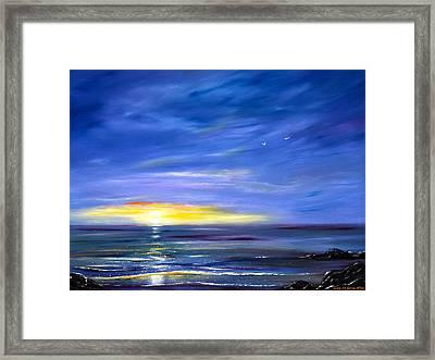 Less Drama - Blue Sunset Framed Print