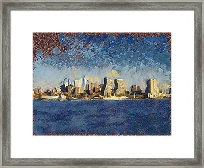 Framed Print featuring the mixed media Less Wacky Philly Skyline by Trish Tritz