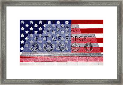 Lest We Forget With Flag Graphic Framed Print