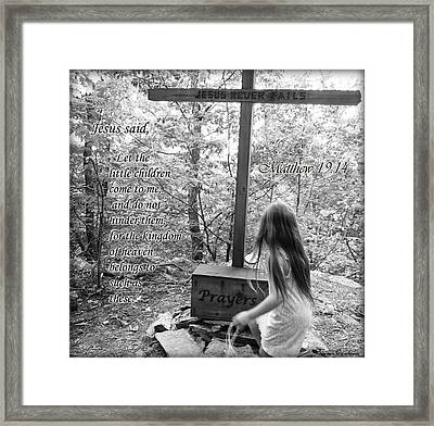 Let The Children Come To Me ... Matthew Nine Fourteen Framed Print by Angelica -Gel Studios