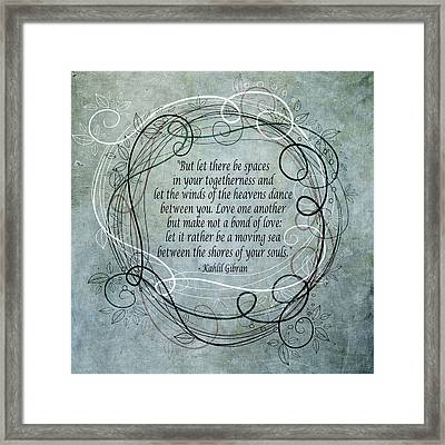 Framed Print featuring the digital art Let There Be Spaces by Angelina Vick