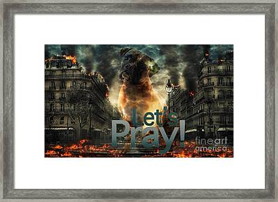 Framed Print featuring the digital art Let Us Pray-2 by Kathy Tarochione