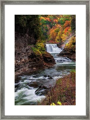 Letchworth State Park Lower Falls Framed Print by Mark Papke