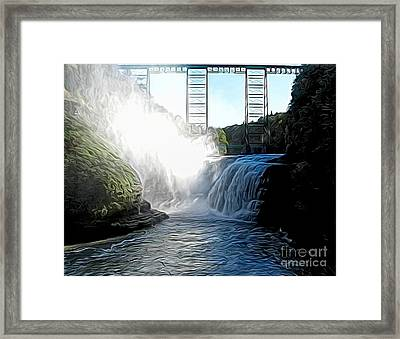 Letchworth State Park Upper Falls And Railroad Trestle Abstract Framed Print