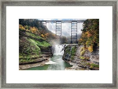 Letchworth Upper Falls Framed Print by Peter Chilelli