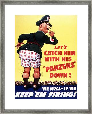 Let's Catch Him With His Panzers Down Framed Print by American School