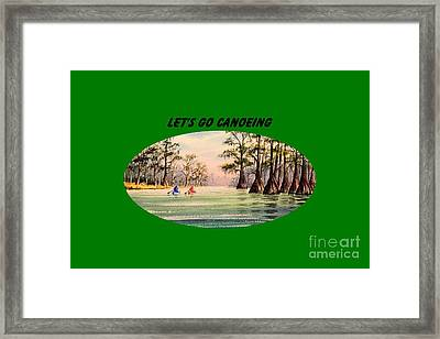 Framed Print featuring the painting Let's Go Canoeing by Bill Holkham