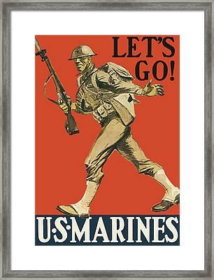 Let's Go - Vintage Marine Recruiting Framed Print by War Is Hell Store