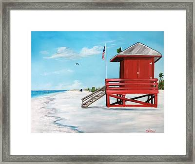 Let's Meet At The Red Lifeguard Shack Framed Print