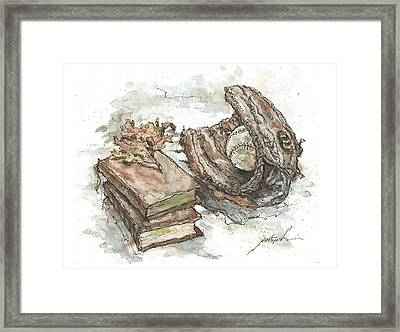 Let's Play Ball And Study Framed Print