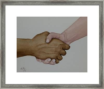 Let's Shake Hands On It Framed Print by Kelly Mills