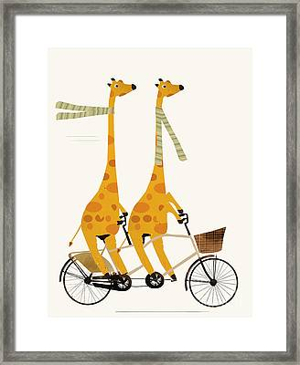 Framed Print featuring the painting Lets Tandem Giraffes by Bri B