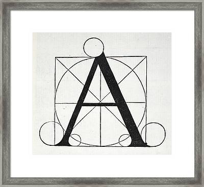 Letter A Framed Print by Leonardo Da Vinci