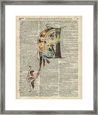Letter A Monogram Framed Print by Jacob Kuch